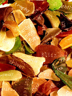 Multicolored shards with words on them