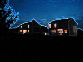 Houses and backyards at twilight