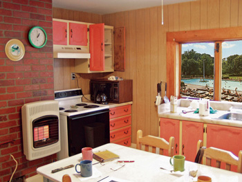 1970s kitchen with pool out window