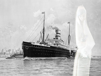 Steamship with ghostly figure