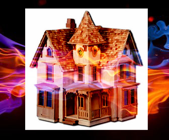 Dollhouse with fiery background