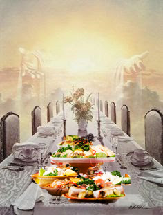 God's table, with banquet food