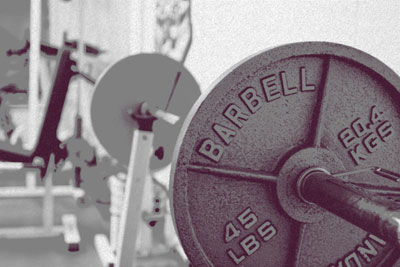 Barbell in a weight room