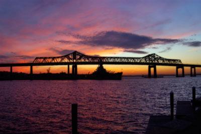 Bridge near Fall River at sunset