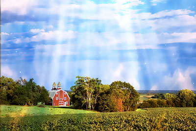 Nebraska farm with red barn and rays of heavenly light