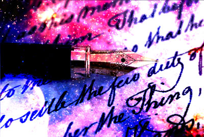 Old-fashioned pen with star overlay