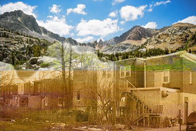 Sierra Mountains, plains and Camden rowhouses