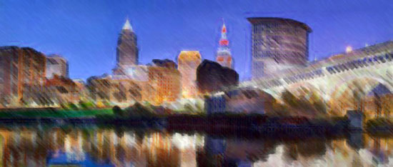 Cleveland skyline with paint filer