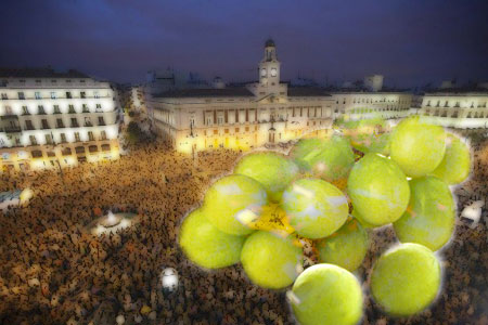 New Year's in Madrid with superimposed grapes