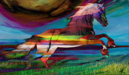 Stallion against multicolored dreamscape