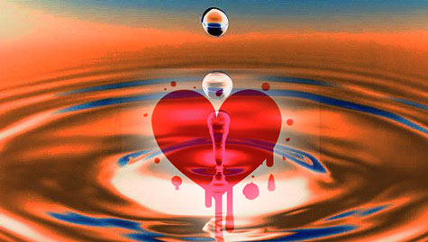 Water dripping into heart