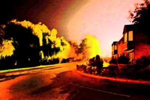 Suburban street in reds and yellows