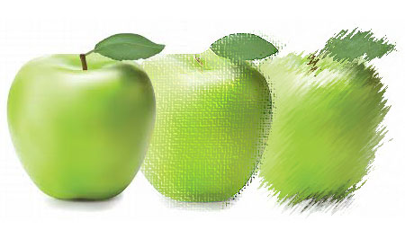 Three green apples, from sharp to blurred