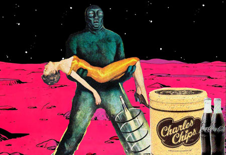 Lizard man with woman on Mars with chips and soda