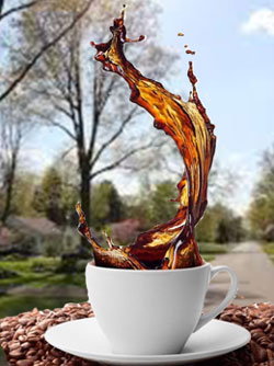 Splashing coffee cup in front of spring landscape
