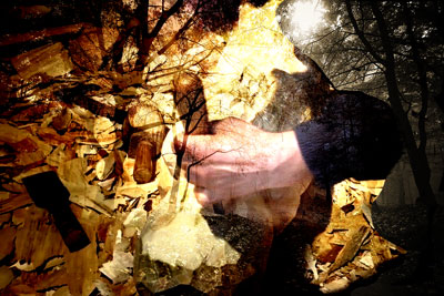 Wood sculptor sculpting superimposed on twilight woods