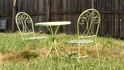 Green table and chairs by Alyce Wilson