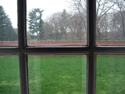 View from window on grassy courtyard