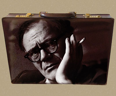 Robert Lowell portrait on a briefcase