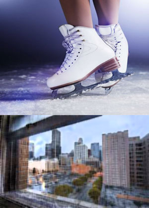 Ice skates and a view of Los Angeles
