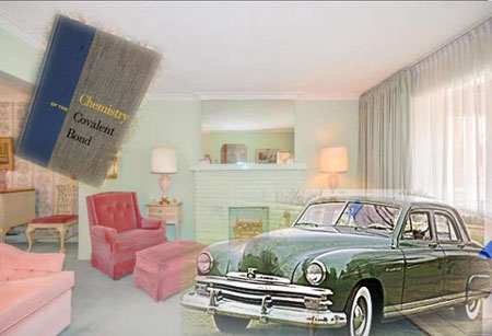 1950s living room, chemistry book and car