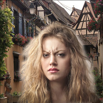 Angry woman on village street