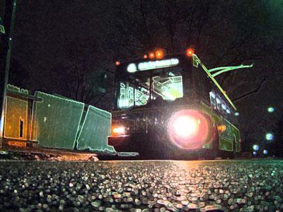 Greyhound bus at night