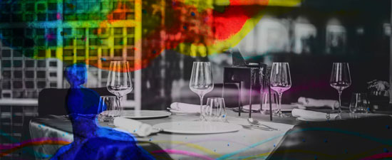 Colorful dream over restaurant table