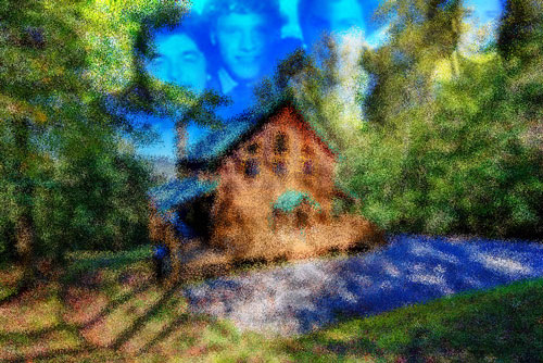 Four young men superimposed over mountain cabin