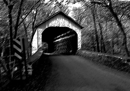 Covered bridge with dark smudges