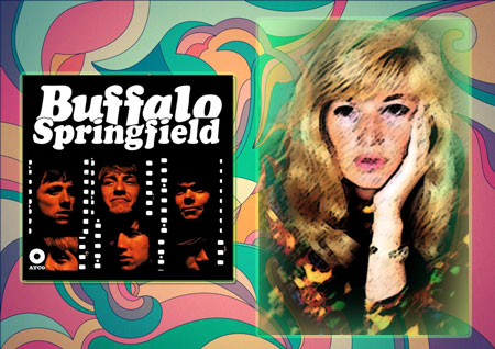 Buffalo Springfield album with groovy background and blonde 1960s woman