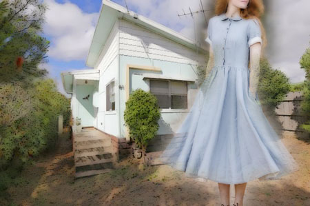 1960s small home with teen in linen dress