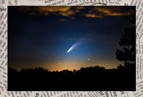 Comet Neowise on newsprint background
