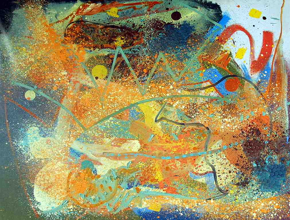Abstract painting with spray painted fields and brush stroke shapes. The background is filled with yellow, orange, red, black, dark blue and light blue spray-painted color fields. In the foreground are painted zig-zag shapes in light green. In the upper right corner is a wide, painted red arch on a white background.