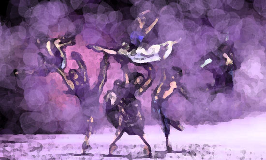 Sketches of dancers in purple, black and white within a fog of purple.